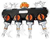 ALEMIN 4 Wege Verteiler Wasser 3/4 und 1/2 Zoll Wasserverteiler mit Wasserhahn Adapter zu Garten Bewässerungsuhr & Gartenschlauch, Wasserdurchfluss regulier- und absperrbar