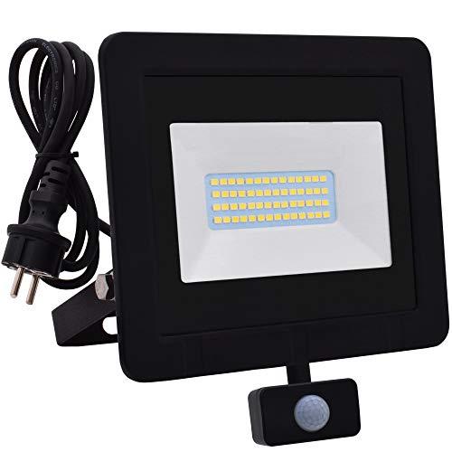 Lumare 30W LED Strahler mit Bewegungsmelder und Anschlußstecker 2400lm außen und innen IP65 ersetzt ca. 200W mini Flutlicht Lampe 3000K warmweiß 230V