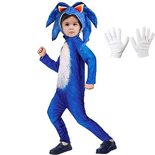 Lucky baby Niñas Niños DisfrazSonic Hedgehog Jumpsuit + Tocado + Guantes Traje (Azul, 110-125cm / 4-6 años)