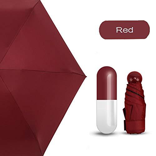 Sonnenschirm Regenschirm Fünffach Klappbarer Mini-Regenschirm Kleine Taschen Regenschirme Regen FrauenKreativer Taschenschirm Anti-Uv-Sonnenschirm Rot