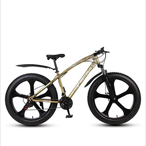 DGAGD 26 Pulgadas Todoterreno Playa motonieve súper Ancho 4.0 Rueda Grande de Bicicleta de montaña de Cinco Ejes-Dorado_21 velocidades
