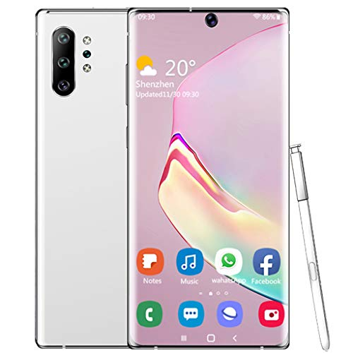 PNAYK Note10pro Teléfonos Inteligentes 4G, 6,8 Pulgadas Dual SIM Gratis Teléfonos Android con Batería Grande 4800 mAh, Identificación Facial Teléfono Móvil Desbloqueado,Blanco