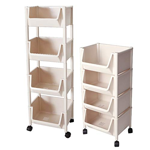 Uioy-Garderobenständer Shelf-Wheeled Vier-Tier-Lagerregal Bad Rack Multi-Layer-Lagerregal (Farbe : Weiß)