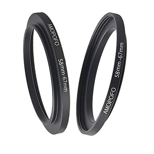 Anillo de filtro de metal de 58 mm a 67 mm, anillo adaptador de filtro Step Up de 58 mm a 67 mm. Características: