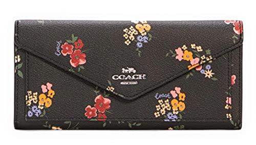 COACH Womens Slim Envelope Soft Wallet With Floral Print (Black Multi)