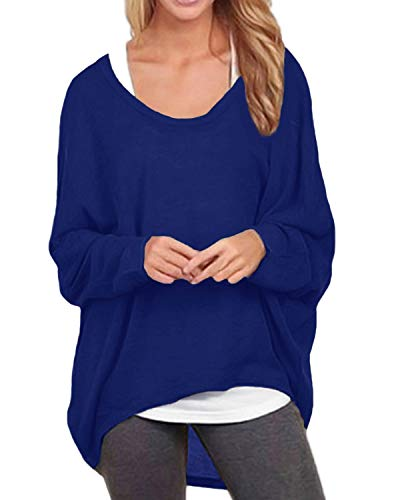 ZANZEA Damen Lose Asymmetrisch Jumper Sweatshirt Pullover Bluse Oberteile Oversize Tops Königsblau EU 48/Etikettgröße 2XL