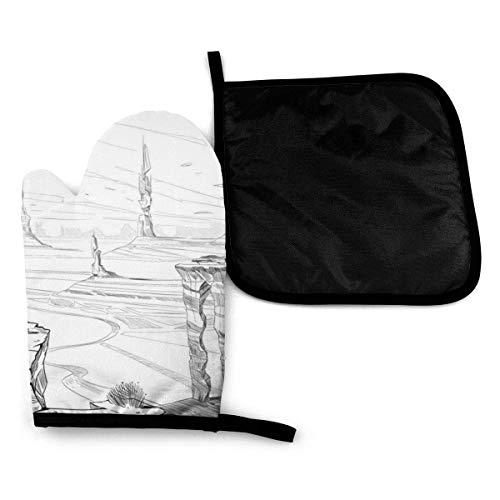 Klotr Fantastic City Desert Concept Art Gants et maniques (2-Piece Sets) - Kitchen Set with Cotton Heat Resistant,Gants de Four pour la Cuisson au Barbecue