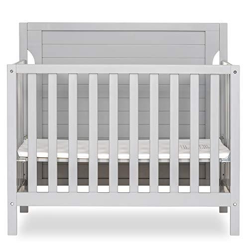 Dream On Me Bellport 4 in 1 Convertible Mini/Portable Crib I Mini Baby Crib I Includes 1.5 Mattress, Pebble Grey