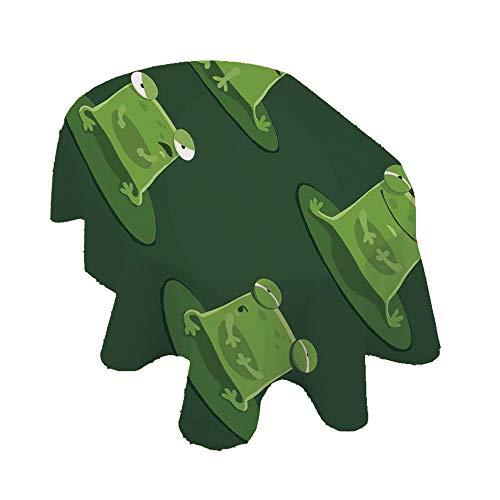 Angel Bags - Mantel ovalado divertido con diseño de ranas en estanque de caza, sabrosas expresiones de mosca, poliéster, 150 x 84 cm, para interiores y exteriores, botella verde