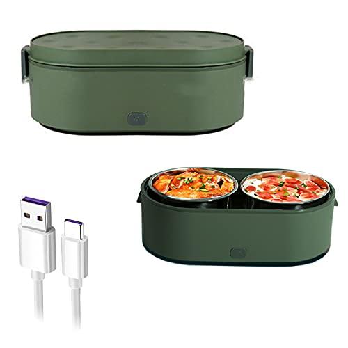 KUMADAI Fiambrera Electrica 3 en 1para Coche Familiar, USB Lunch Box Electrica Termica Fiambreras Acero Inoxidable 2 Compartimentos Fiambrera Trabajo Electrica Mujer Hombre,Verde