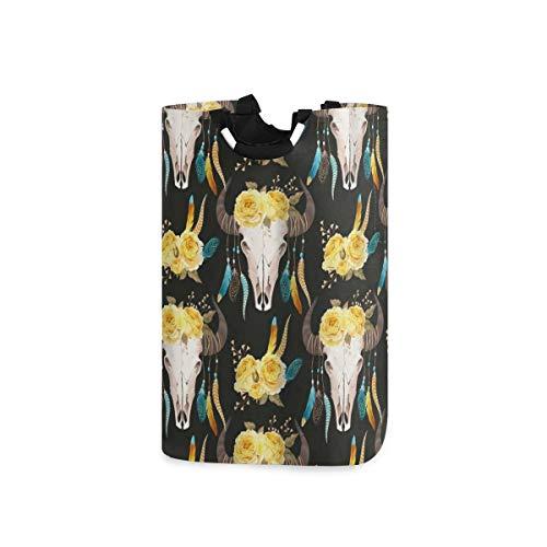 BEITUOLA Wäschesammler Wäschekorb Faltbarer Aufbewahrungskorb,Kuhblumen auf Kopf und Horn mit Federn Boho Style,Wäschesack - Wäschekörbe - Laundry Baskets