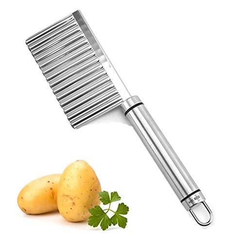YISUYA Kartoffelschneider, Edelstahl Crinkle Cutter Messer, Gezackten Cutter Kartoffelchips Cutter Gemüseschneider Küchenwerkzeug für Kartoffeln Süßkartoffeln Baby Kinder