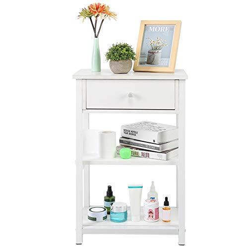 Mesita de noche moderna de color blanco, mesa auxiliar con 1 cajón y 2 estantes abiertos, mesita de noche pequeña para salón o dormitorio, 45 x 30 x 68 cm