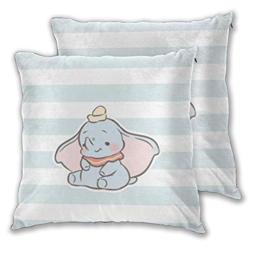 MISS-YAN Dumbo - Funda de cojín decorativa para bebé, funda de almohada, suave y decorativa para cama/silla/sofá, 2 unidades
