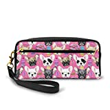 Leather Pencil Case French Bulldog Puppy With Donuts Pen Holder Box for School Office Supplies Organizer