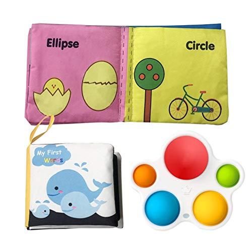 poetryer Juguete para Bebés De 3 Piezas Y Kit De Libro De Tela Juguete De Educación Temprana para Bebés Bebés Niños Pequeños