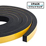 Foam Weather Stripping-2 Rolls, 1/2 Inch Wide X 3/8 Inch Thick High Density Sound Proof Insulation Closed Cell Foam Seal Weather Stripping for Doors and Windows Total 13 Feet Long(6.5ft x 2 Rolls)