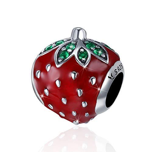 Abalorio de plata de ley 925 con esmalte rojo fresa dulce, compatible con pulseras Pandora
