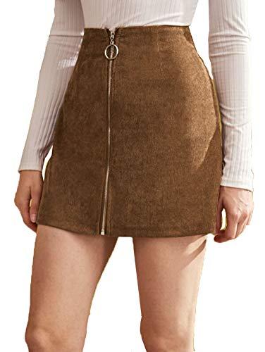 Frauen Röcke Zip Front Bodycon Minirock Damen ausgestattet Leder Kurze Bleistiftröcke (S, Khaki)