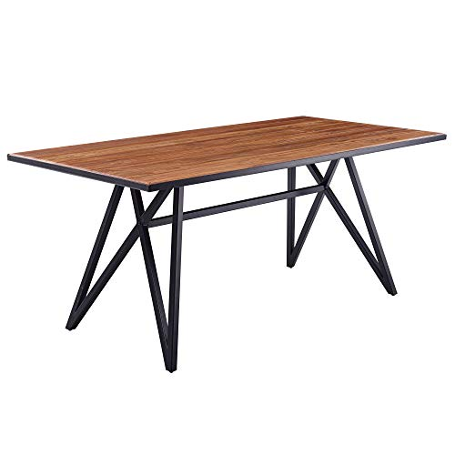 FineBuy Esstisch Sheesham Massivholz/Metall Esszimmertisch 200x77,5x100 cm | Küchentisch Loft Massiv | Holztisch mit Metallgestell Schwarz