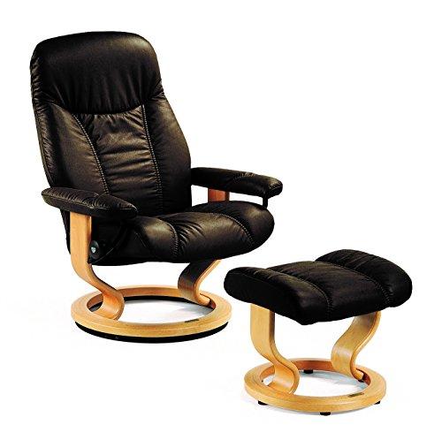 Original Stressless Consul (M) Relaxsessel mit Hocker Leder Batick braun Holz natur Ledersessel Bequemsessel