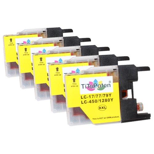*TITOPATEN* 5X Brother MFC J 5910 DW kompatible XL Druckerpatronen ersetzt Typ 1280 - Gelb