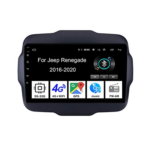 Android 10 Radio De Coche 9 Pulgadas Pantalla Tactil para Coche para Jeep Renegade 2016-2020 4 Cores 2G+32G Android Auto Coche Conecta Y Reproduce Coche Audio FM/Am/RDS Video Cámara Trasera