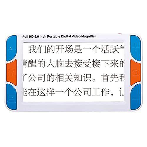 LiRuiPengBJ Ayudas para Visión Reducida con Zoom 3X-48X con Ayudas para La Lectura, Lupa Digital de 5 Pulgadas, 26 Tipos de Modos de Color, Soporte de Salida A TV, para Discapacitados Visuales