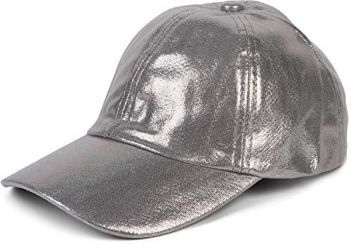 styleBREAKER Damen 6-Panel Cap im Metallic Look, Baseball Cap, Basecap, verstellbar 04023065, Farbe:Silber
