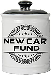Cottage Creek Car Gifts Round Ceramic New Car Fund Jar/Cars Piggy Bank [White]