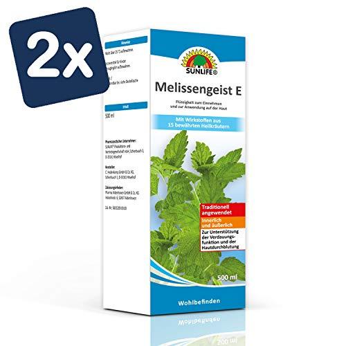 SUNLIFE Melissengeist E: Traditionelles pflanzliches Arzneimittel mit den Ölen von 15 Kräutern, 500 ml - 2er Pack