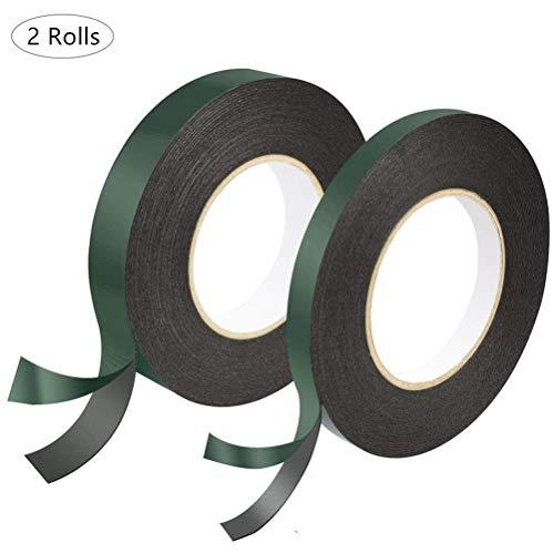 20 meter zwart dubbelzijdig schuim tape lijm spons tape dubbelzijdig waterdicht montage tape rollen voor auto's trimmen nummerplaten,2 rollen (10mm x 10m, 25mm x 10m)