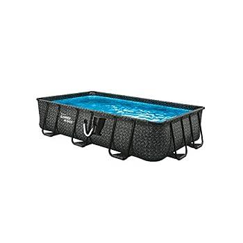 Summer Waves P41408361 14 x 8 Foot 36 Inch Deep Dark Herringbone Print Liner Elite Metal Frame Rectangular Above Ground Family Backyard Pool w/ SFX600 SkimmerPlus Filter Pump & SureStep Ladder Grey