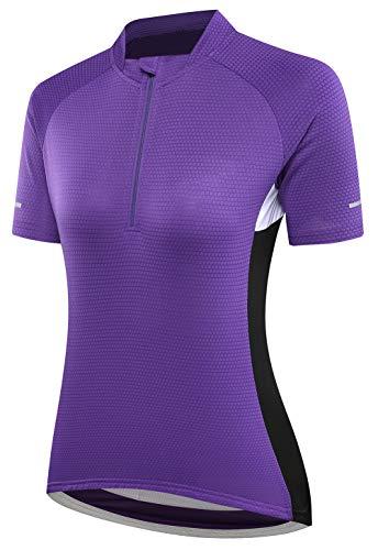 BORUO Donne Estate T-Shirt,Uomo All'aperto Ciclismo Jersey,Asciugatura Veloce Traspirante Manica Corta,Sport Fitness Camicia,Purple,L