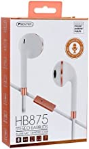 Sentry HB875 Stereo Earbuds, White-Rose Gold, in-LINE MIC, Zippered CASE