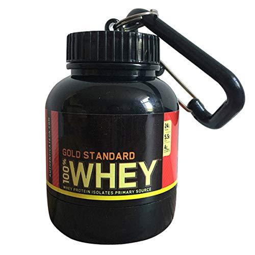 DERCLIVE Embudo de Proteína Embudo de Botella de Agua de Contenedor de Polvo Portátil de Suplemento Negro