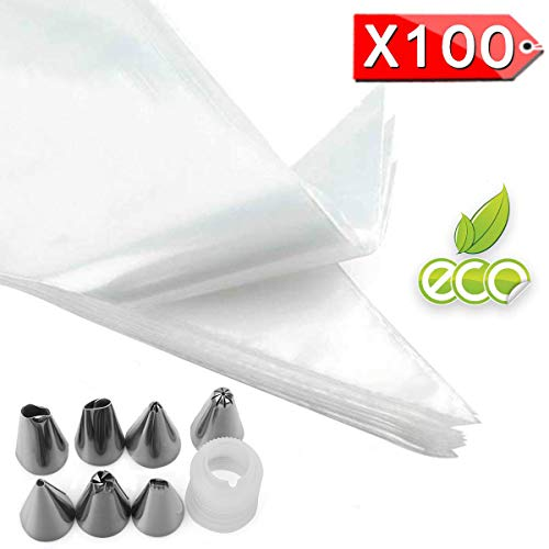 YFOX 100 Bolsas Desechables para Pasteles-Bolsas Desechables Gruesas para decoración de Pasteles y 8 boquillas Grosor 0.08 mm