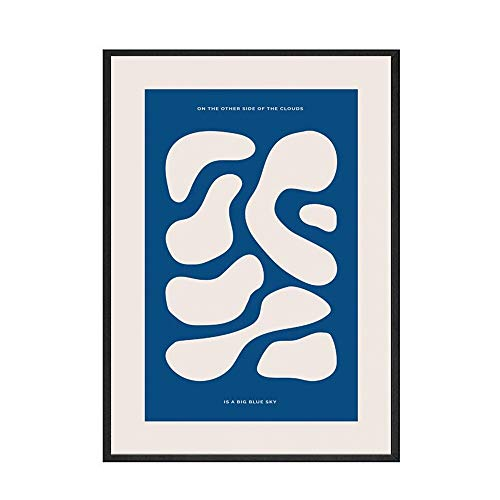 Planta nórdica azul abstracto mujer simple planta pintura cartel imagen pared hogar sin marco lienzo decorativo pintura F 20x30cm