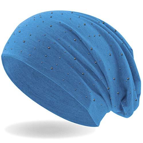 Damen Beanie Mütze | mit edler Strass Nieten Applikation | Mädchen Mütze | elastisches Slouch Long Beanie | leicht und weich (Hellblau)