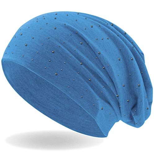 Strass Nieten Steine Jersey elastisches Long Slouch Beanie Unisex Herren Damen Mütze (Hellblau)