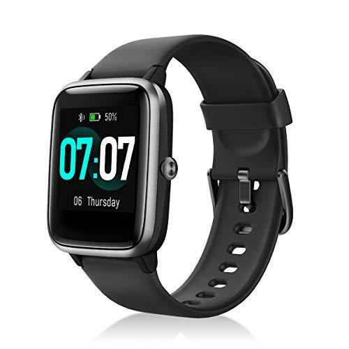 IDEALROYAL Smartwatch, Reloj Inteligente Impermeable IP68, Rastreador de Actividad Física con Monitor de Sueño Contador de Caloría Pulsómetros Podómetro para Android iOS (Negro)
