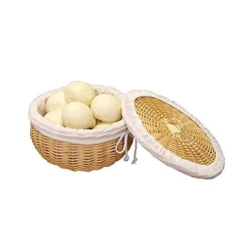 Mzxun Cesta hecha a mano de mimbre, cesta de pan cubierto con tapa, fruta casa restaurante el tejido y la canasta de verduras, redondo, forro de algodón cómodo y duradero