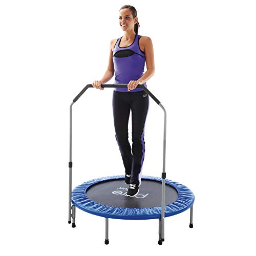 Pure Fun 40' in-home Mini Rebounder Trampoline with Adjustable Handrail, Ages 13+, Blue (9005MTH)
