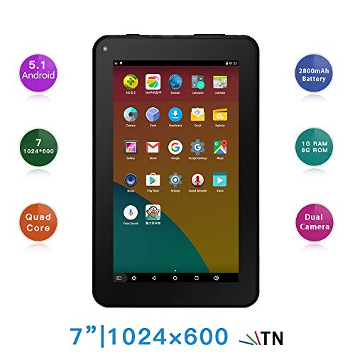 "Haehne 7"" Tablet PC - Google Android 5.1 Quad Core, 1G RAM 8GB ROM, Cámaras Duales 2.0MP + 0.3MP, 2800mAh, 1024 x 600 Pantalla, WiFi, Bluetooth, Negro"