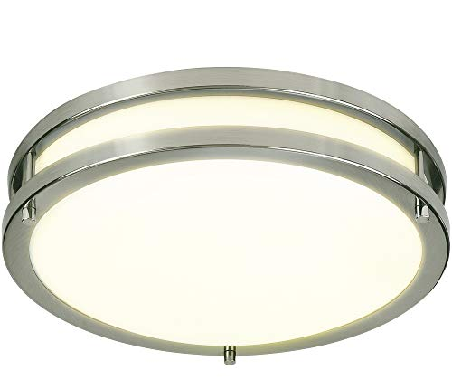LB72118 LED Flush Mount Ceiling Light, 12 inch, 15W (150W Equivalent) Dimmable 1200lm, 3000K Warm White, Brushed Nickel Round Lighting Fixture for Kitchen, Hallway, Bathroom, Stairwell