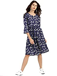 TheUrbanStreet Cotton Navy Blue Printed A-Line Dress