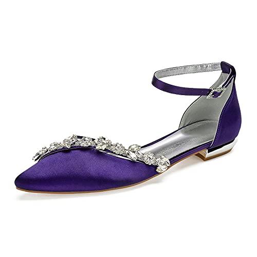Zapatos De Boda para Mujer Punta Puntiaguda Diamante de satén Bailarinas Planos Elegante Zapatos de Novia con Correa en el Tobillo Sandalias,Dark Purple,43 EU