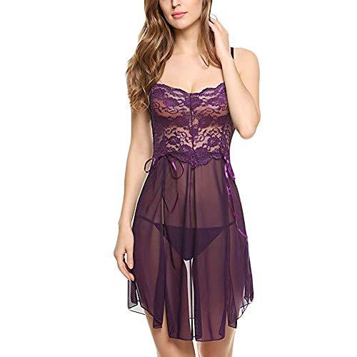 biancheria intima sexyNuevas mujeres de moda de encaje de flores Bowknot Mesh Nightdress Ropa de dormir Un regalo estimulante del kit sexual para Lover-purple_XXL