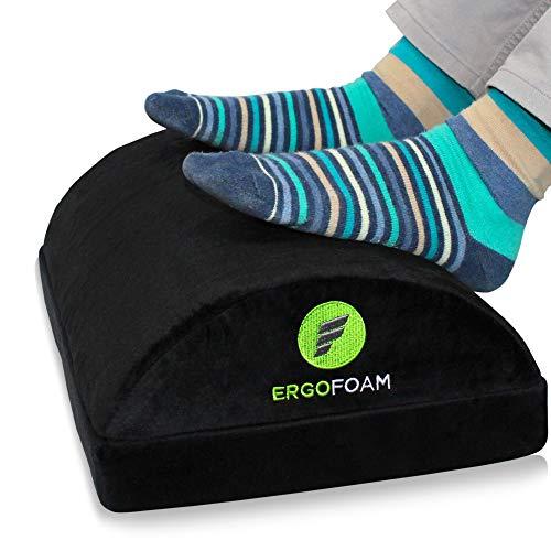 ErgoFoam Adjustable Foot Rest Under Desk for Added Height - Large Premium Velvet Soft Foam Footrest for Desk - Most Comfortable Desk Foot Rest in The World for Back, Lumbar, Knee Pain (Black)