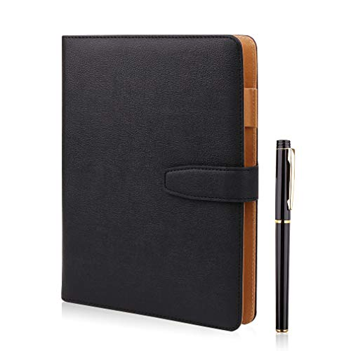 A5 Leather Notebook - Refillable Loose Leaf Business Notebook/Notepad, Meeting Notebook, Ruled/Classic Lined with Pocket&Pen Holder, 100 Sheets of 100gsm Paper (black)